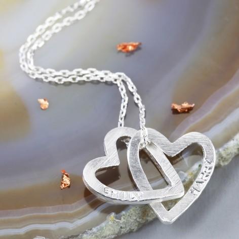 Personalised silver interlocking hearts pendant necklace lisa angel personalised silver interlocking hearts pendant necklace mozeypictures Images