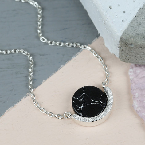 Black marble disc pendant necklace in silver lisa angel black marble disc pendant necklace in silver mozeypictures Image collections