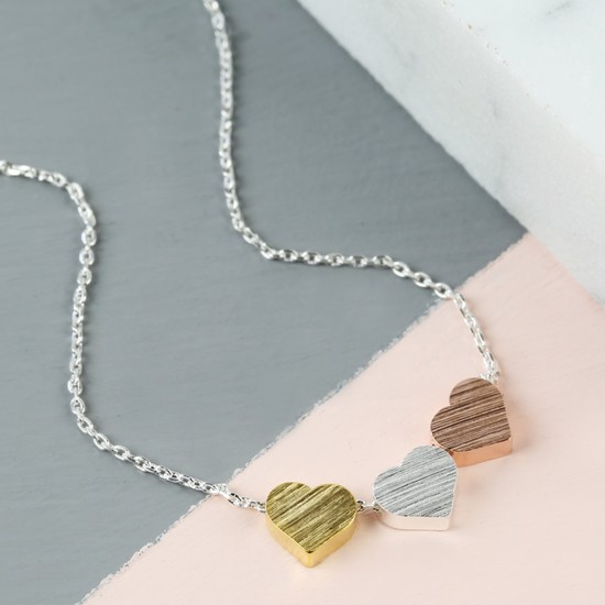 Mixed Metal Triple Heart Necklace with Silver Chain