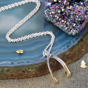 Gold Dipped Silver Wishbone Necklace