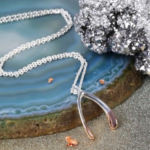 Dipped Rose Gold Wishbone Necklace in Silver
