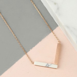 Rose Gold and White Marble Chevron Necklace