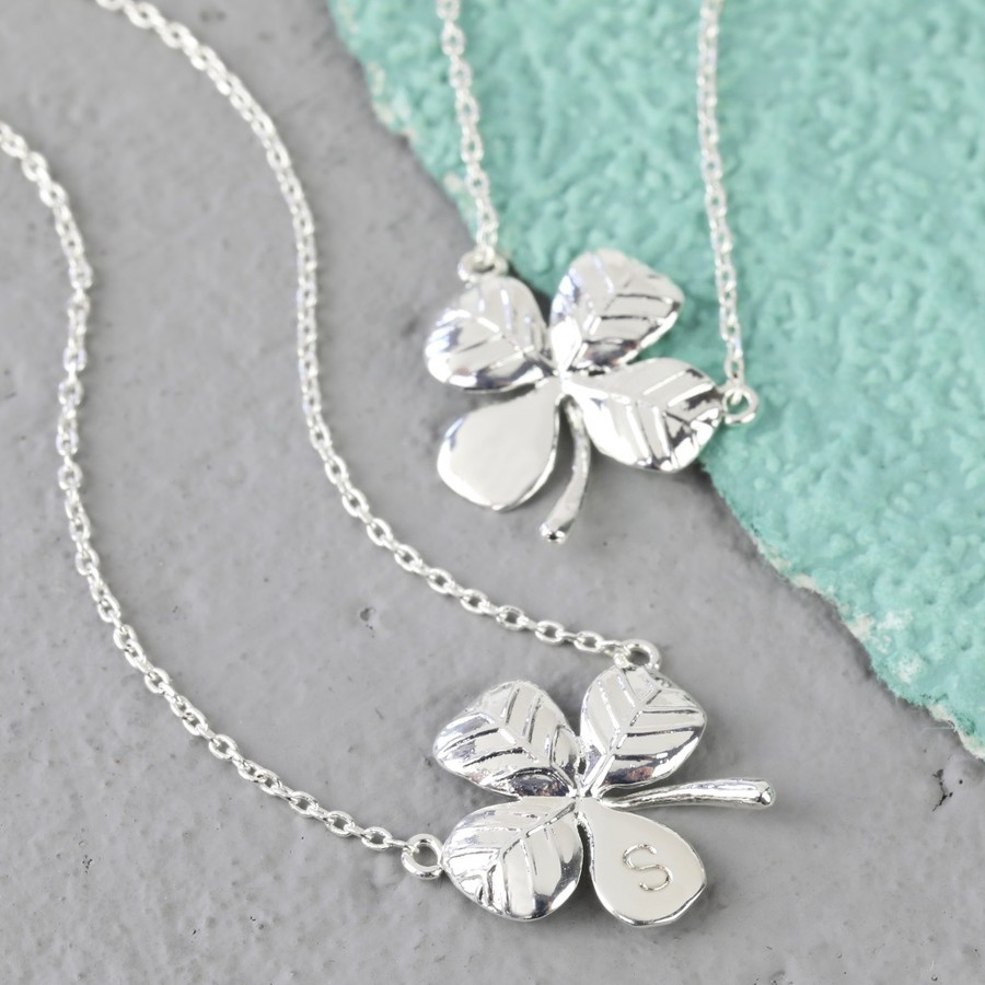 leaf metal brushed irish handcrafted products necklace spinningdaisy clover