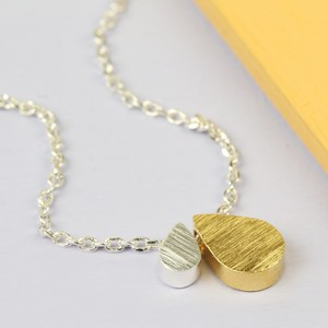 Mother & Baby Double Droplet Necklace in Silver and Gold
