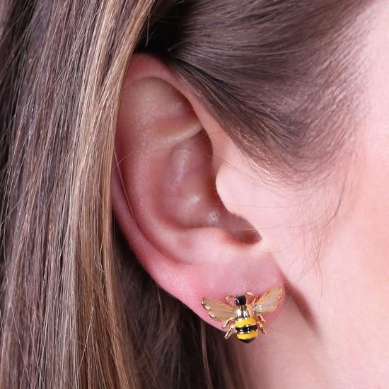 Bumble Bee Gold Stud Earrings