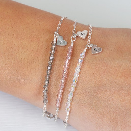 0f2f081a3f1d Handmade Sterling Silver and Swarovski Crystal Bead Bracelet on Model
