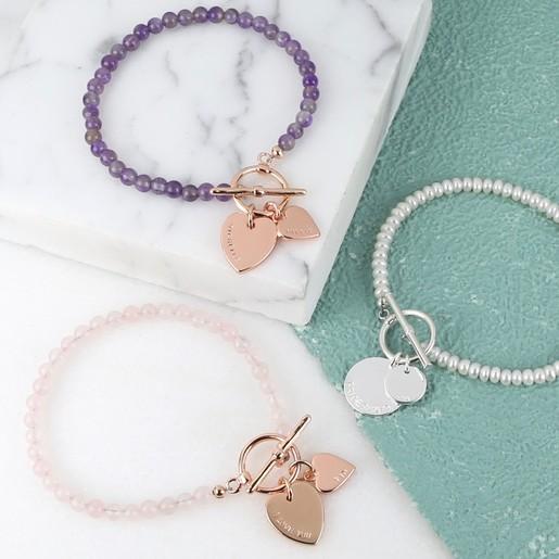 Personalised Semi Precious Bead Name Bracelet Lisa Angel