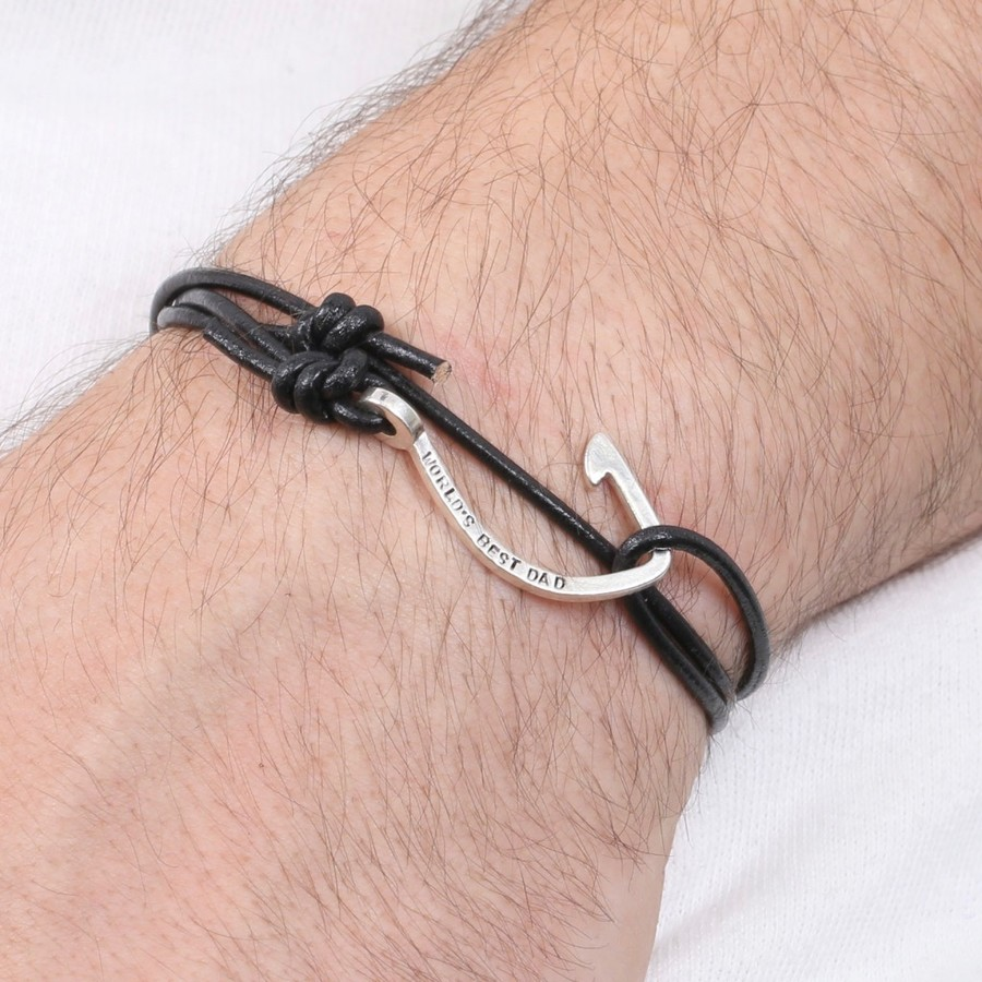 double hook black braided bracelet