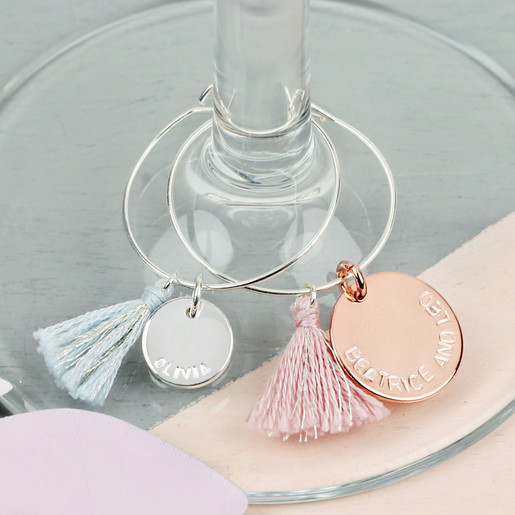 Personalised Five Wine Glass Charms