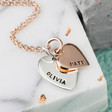 Ladies' Personalised Solid Gold and Sterling Silver Heart Necklace