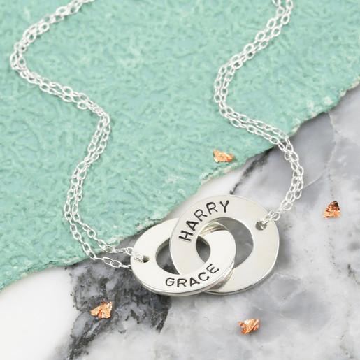 Personalised sterling silver interlocking necklace lisa angel lisa angel ladies personalised sterling silver interlocking necklace aloadofball Image collections