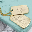 Lisa Angel Gold Personalised Engraved Dog Tag Necklace