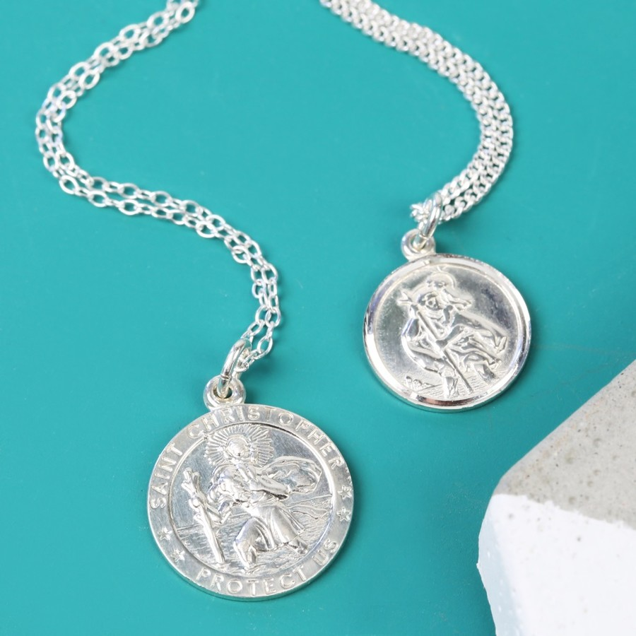 Sterling silver st christopher pendant necklace lisa angel mozeypictures Gallery