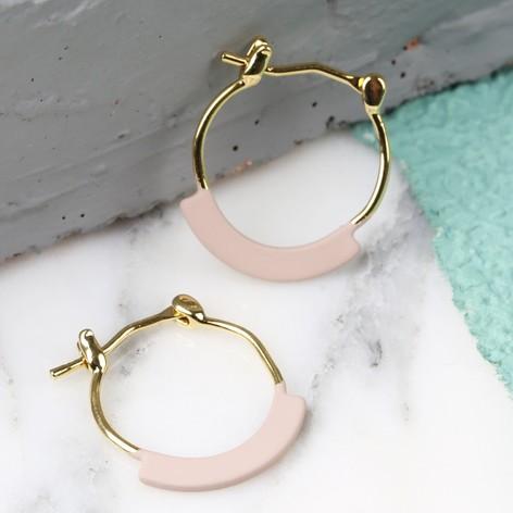 7eb21f185 Curved Bar Hoop Earrings in Matt Dusky Pink | Lisa Angel