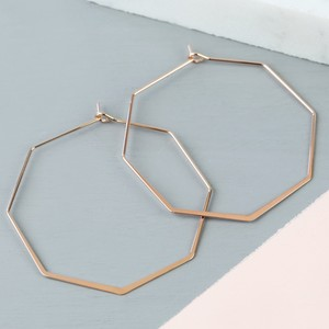 Delicate Octagonal Hoop Earrings in Rose Gold