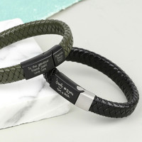 76d975a55 Personalised Men's Woven Leather Bracelet with Matt Clasp