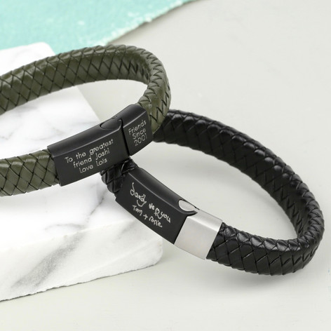 af838a821dc8e Personalised Men's Woven Leather Bracelet with Matt Clasp