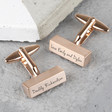 Personalised Brushed Bar Cufflinks