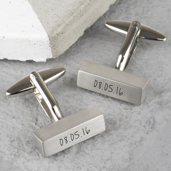 Brushed Silver Bar Cufflinks
