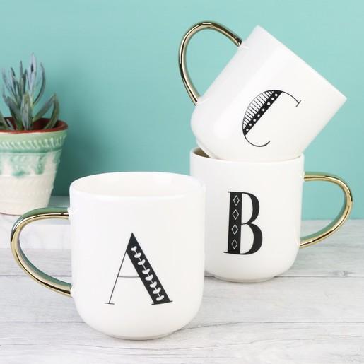 b290e747e5 White Ceramic Letter Mug | Initial Mugs | Lisa Angel