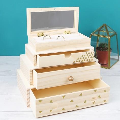 Stacked Wooden Geometric Jewellery Box