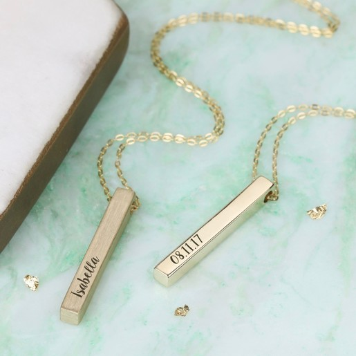 fd1a1155d30 Lisa Angel Ladies' Personalised Solid 9k Gold Bar Necklace