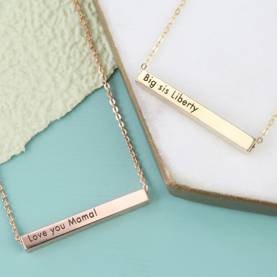 horizontal silver sterling bar img necklace personalised