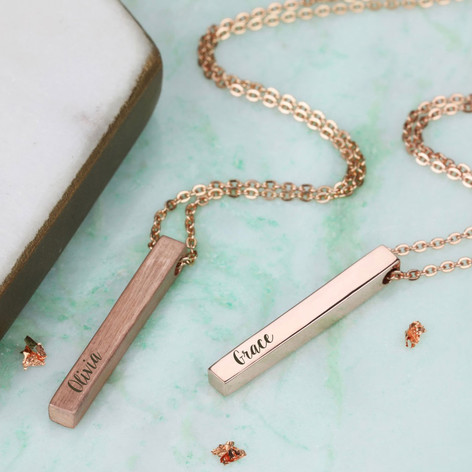 Personalised solid rose gold bar necklace lisa angel jewellery personalised solid 9ct rose gold bar necklace aloadofball Image collections