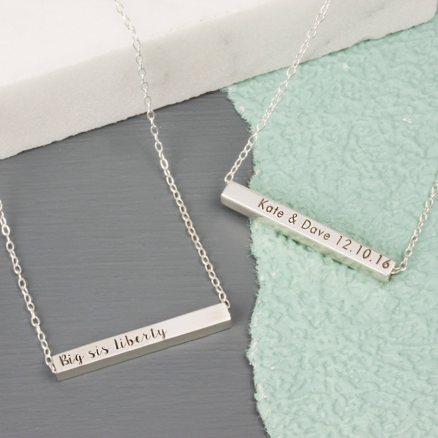 original horizontal lisaangeljewellery personalised product sterling silver bar necklace