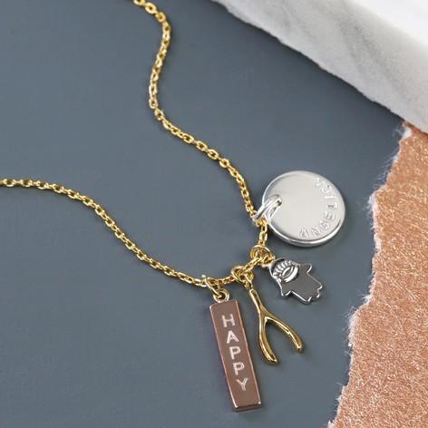 Orelia personalised happy pendant necklace lisa angel personalised orelia happy charm cluster pendant necklace aloadofball Choice Image