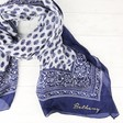 Lisa Angel Personalised Botanical Silk Scarf in Navy and White