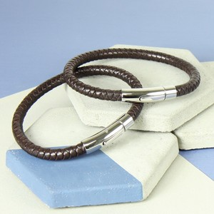 Large Men's 'Trigger Happy' Leather Bracelet in Brown