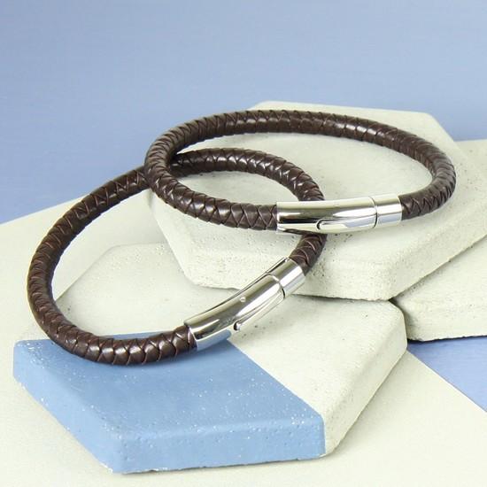 Large Men's 'Trigger Happy' Leather Bracelet in Brown
