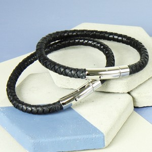 Medium Men's 'Trigger Happy' Leather Bracelet in Black