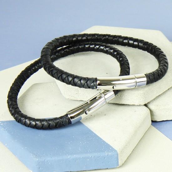 Medium Men's 'Trigger Happy' Leather Bracelet in Black