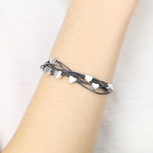 Silver heart grey multi strand leather bracelet