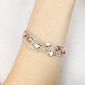 Rose gold heart grey multi strand leather bracelet