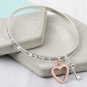 'Bold and Brave' Meaningful Words Charm Bangle Silver