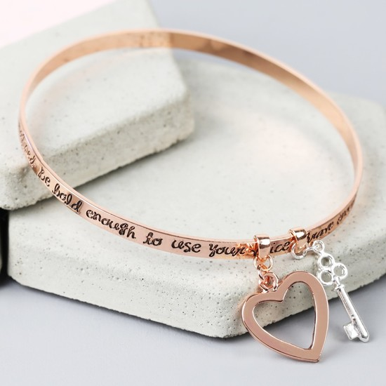 'Bold and Brave' Meaningful Words Charm Bangle - Rose Gold