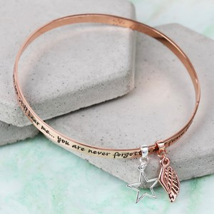 'Never Forgotten...' Meaningful Words Charm Bangle Rose Gold