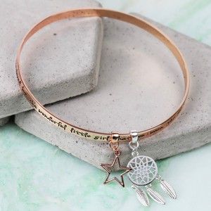 'Precious Daughter' Meaningful Words Charm Bangle Rose Gold