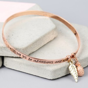 'Say Yes To Adventure' Meaningful Words Charm Bangle Rose Gold