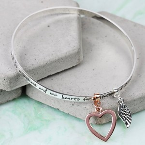 'Grandma...' Meaningful Words Charm Bangle Silver