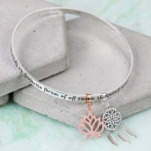 Silver 'My Favourite Person... ' Meaningful Words Charm Bangle