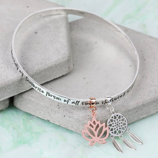 'My Favourite Person... ' Meaningful Words Charm Bangle Silver