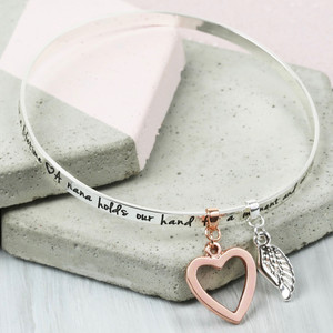 'Nana' Meaningful Words Charm Bangle Silver