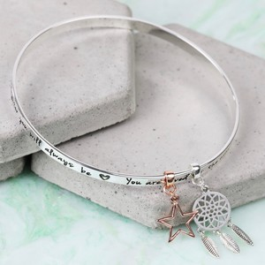 'Precious Daughter' Meaningful Words Charm Bangle Silver