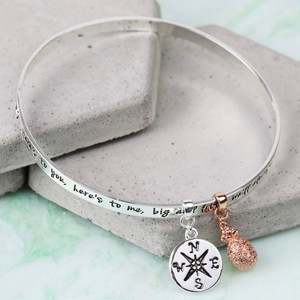 'Sisters...' Meaningful Words Charm Bangle Silver