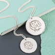Women's Personalised 'Your Drawing' Silver Disc Necklace