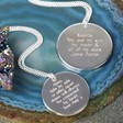 Lisa Angel Personalised Machine Engraved Silver Disc Necklace